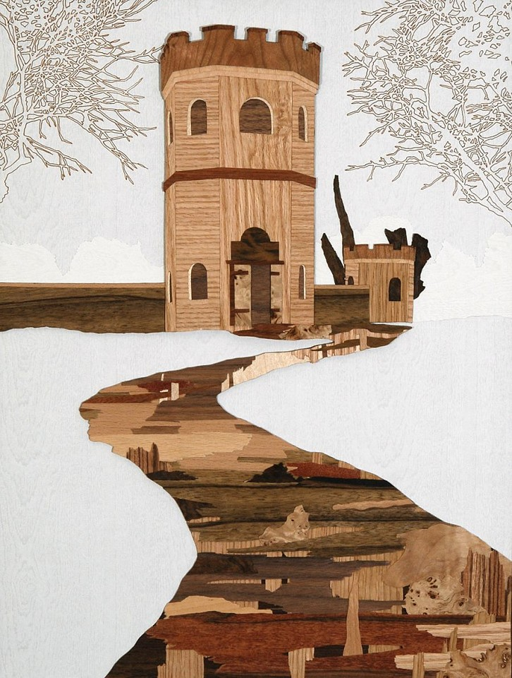 Liat Livni, Fortress 2009, Veneer and ink on paper